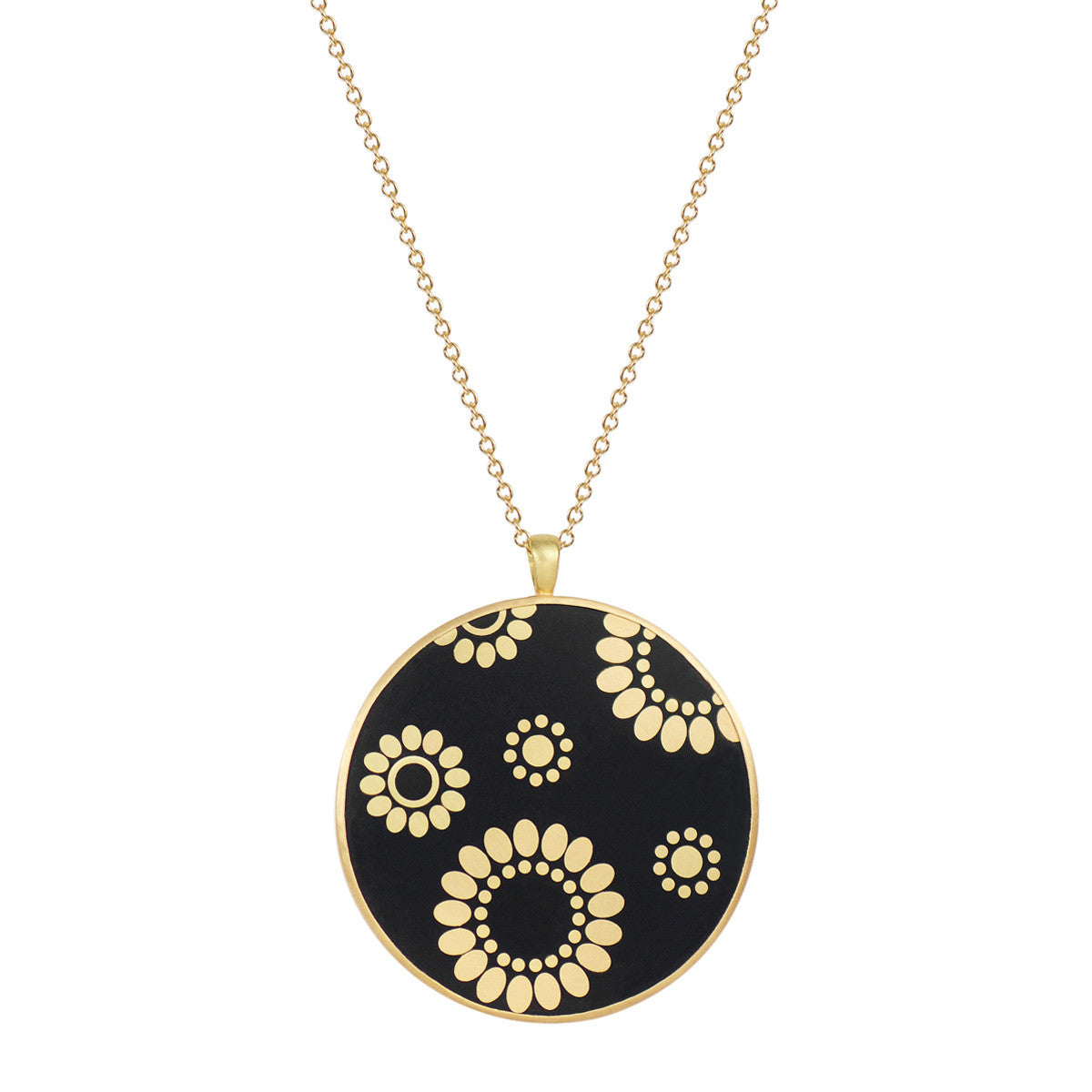18K Gold Large Ebony Flower Disc Pendant