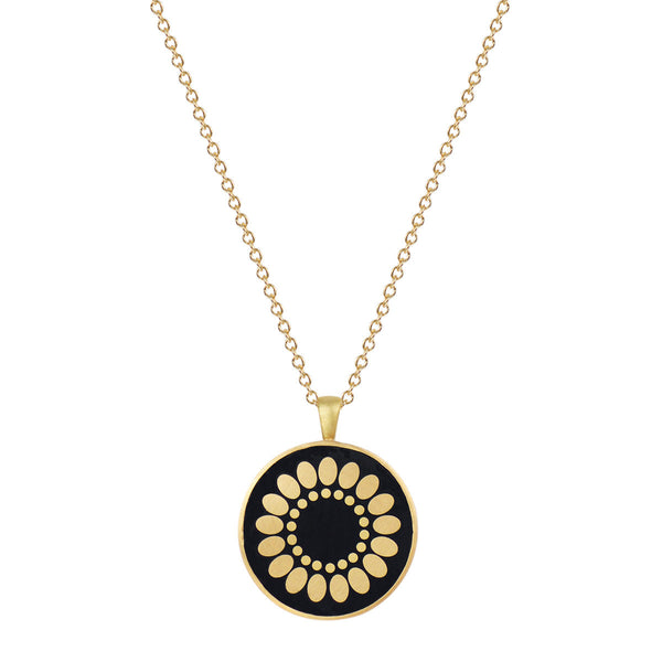 18K Gold Small Ebony Flower Disc Pendant
