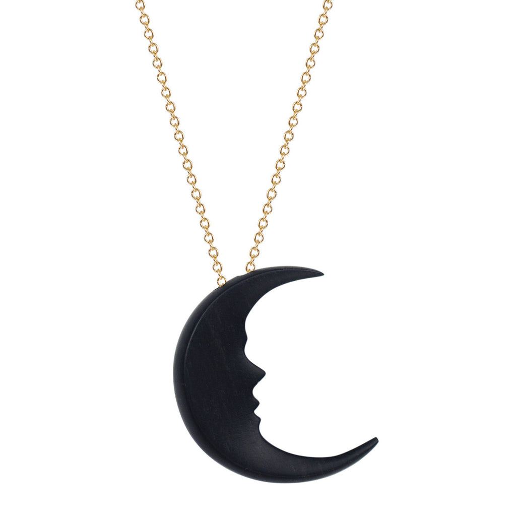 18K Gold Ebony Moon Pendant