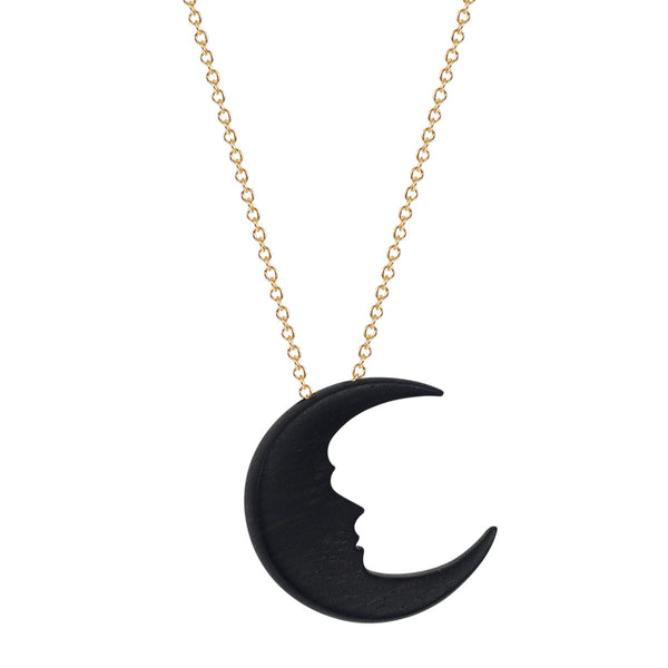 18K Gold Small Ebony Moon Pendant