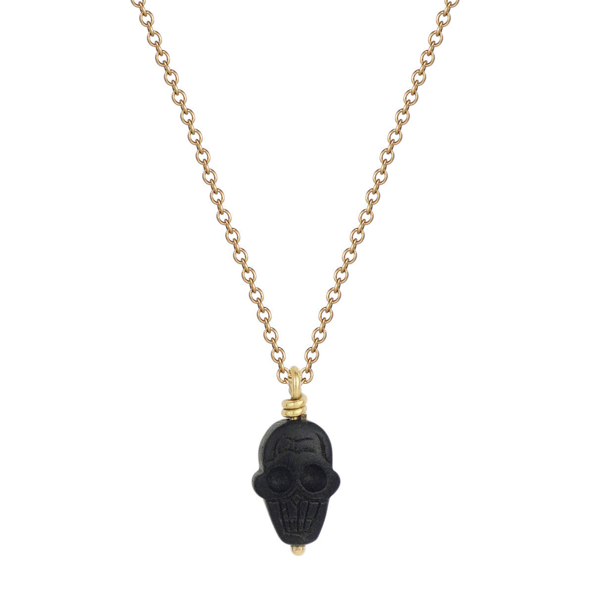 18K Gold Ebony Tiny Skull Pendant