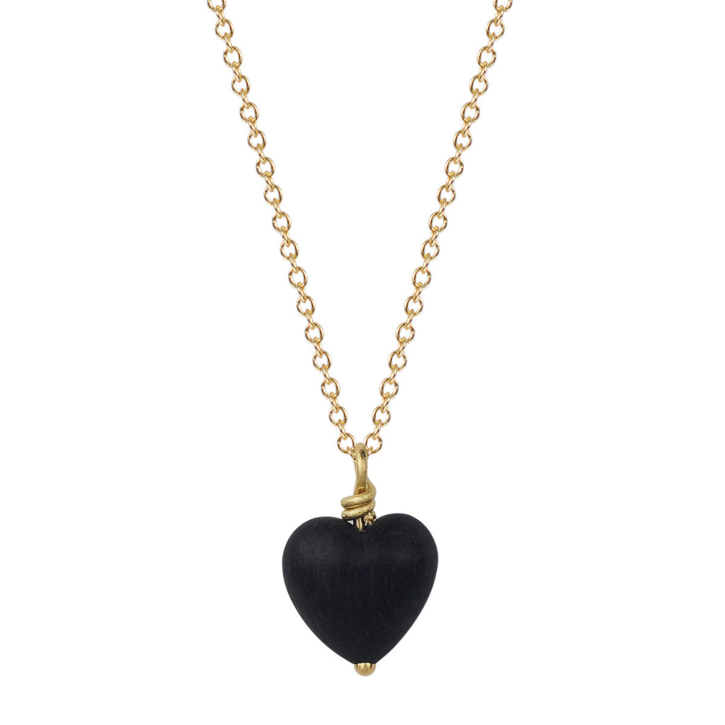18K Gold Ebony Heart Pendant