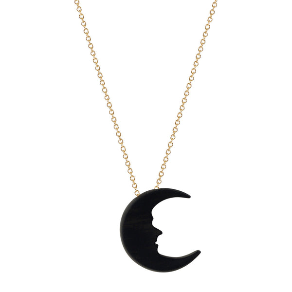 18K Gold Tiny Ebony Moon Pendant