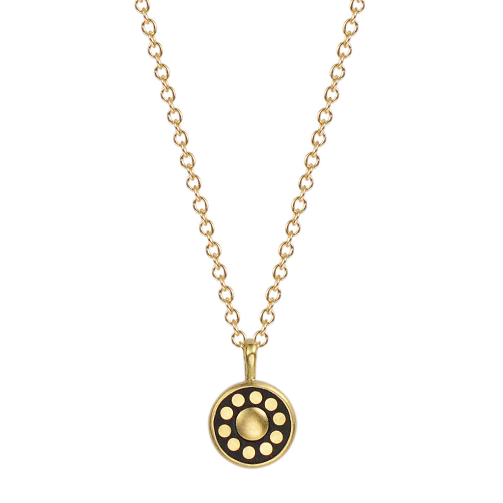 18K Gold Tiny Ebony Flower Disc Pendant