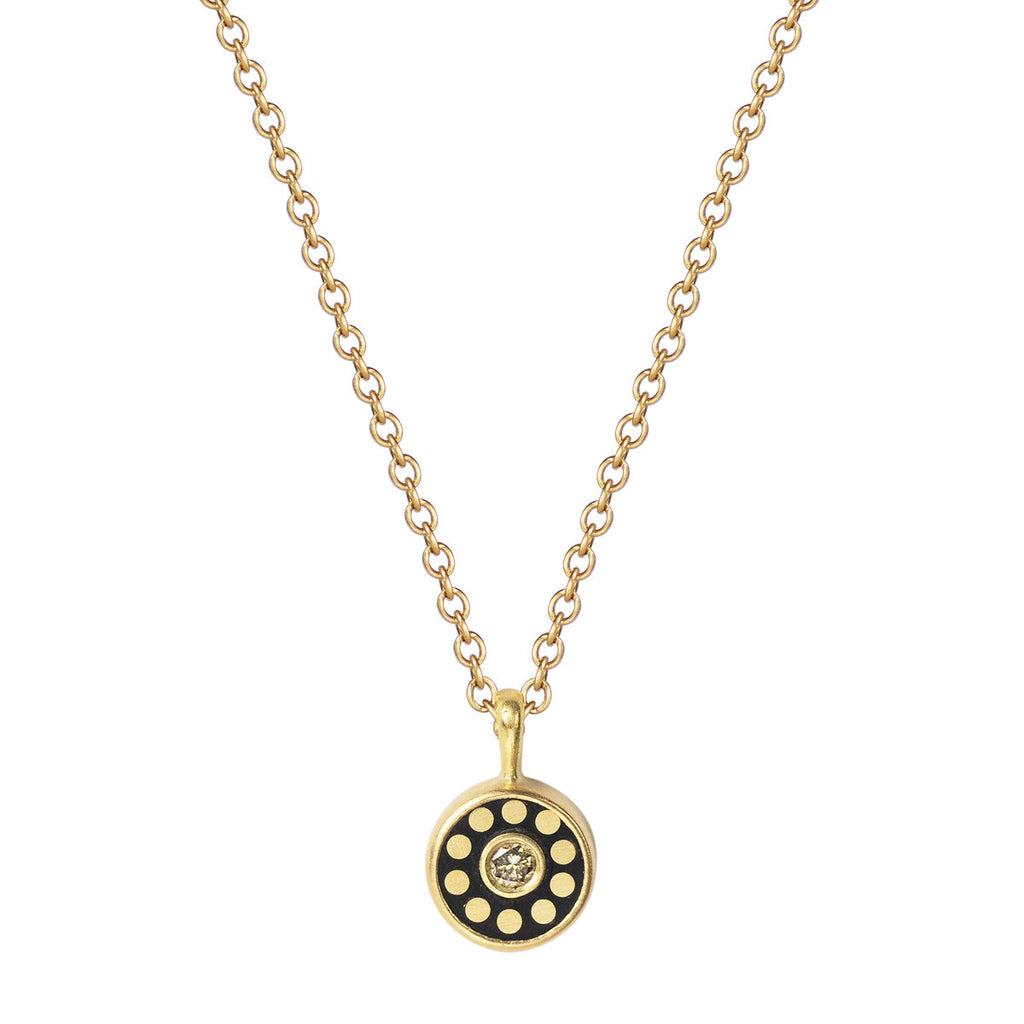 18K Gold Tiny Ebony Flower Disc with Diamonds Pendant