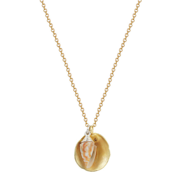 18K Gold Shell and Silver Cone Shell Pendant