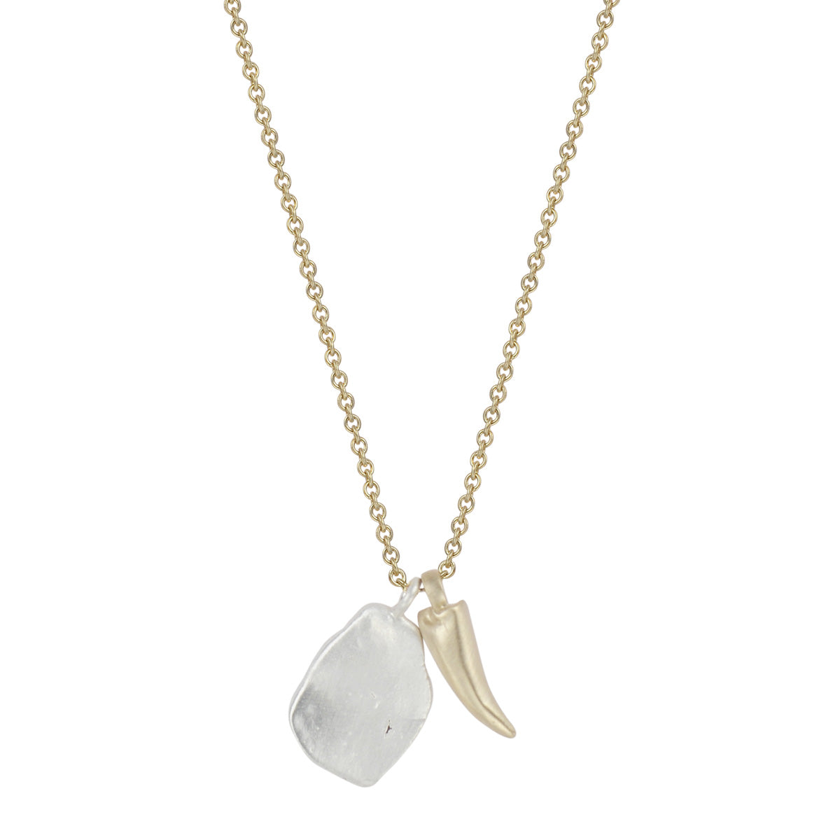 10K Gold Lobster Claw and Silver Shell Charm on Chain