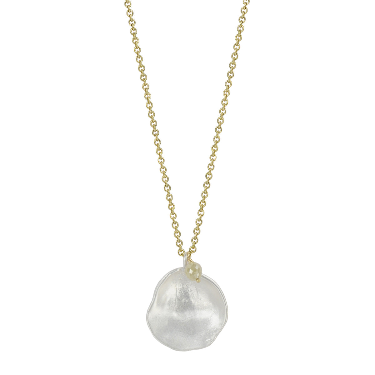 18K Gold Opaque Diamond and Silver Shell Charm on Chain