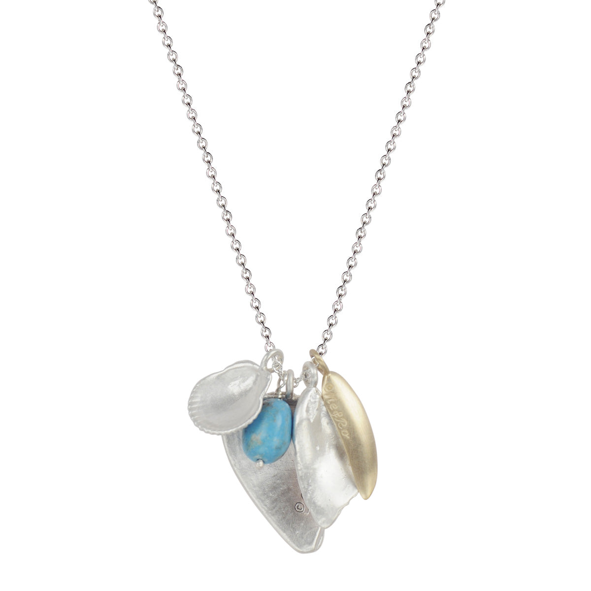 Silver Shell Charms, 10K Gold Leaf, and Turquoise Bead on Chain