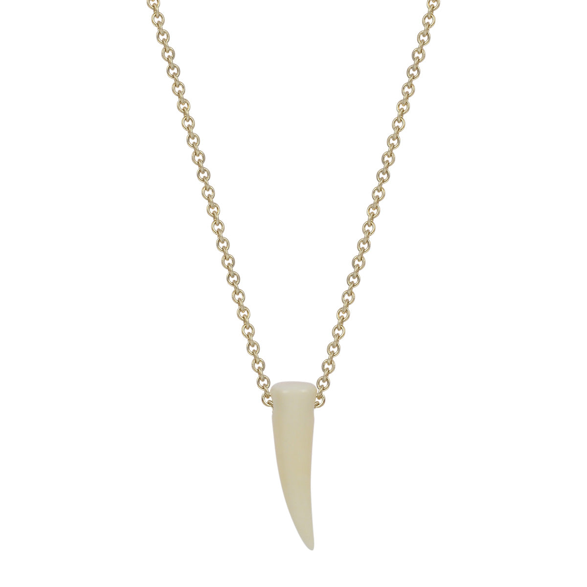 10K Gold Fossilized Walrus Ivory Horn on Chain