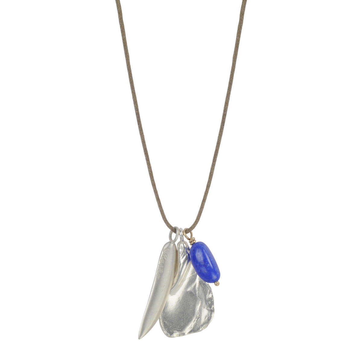 Silver Shell Charm, Leaf, and Lapis Bead on Natural Cord