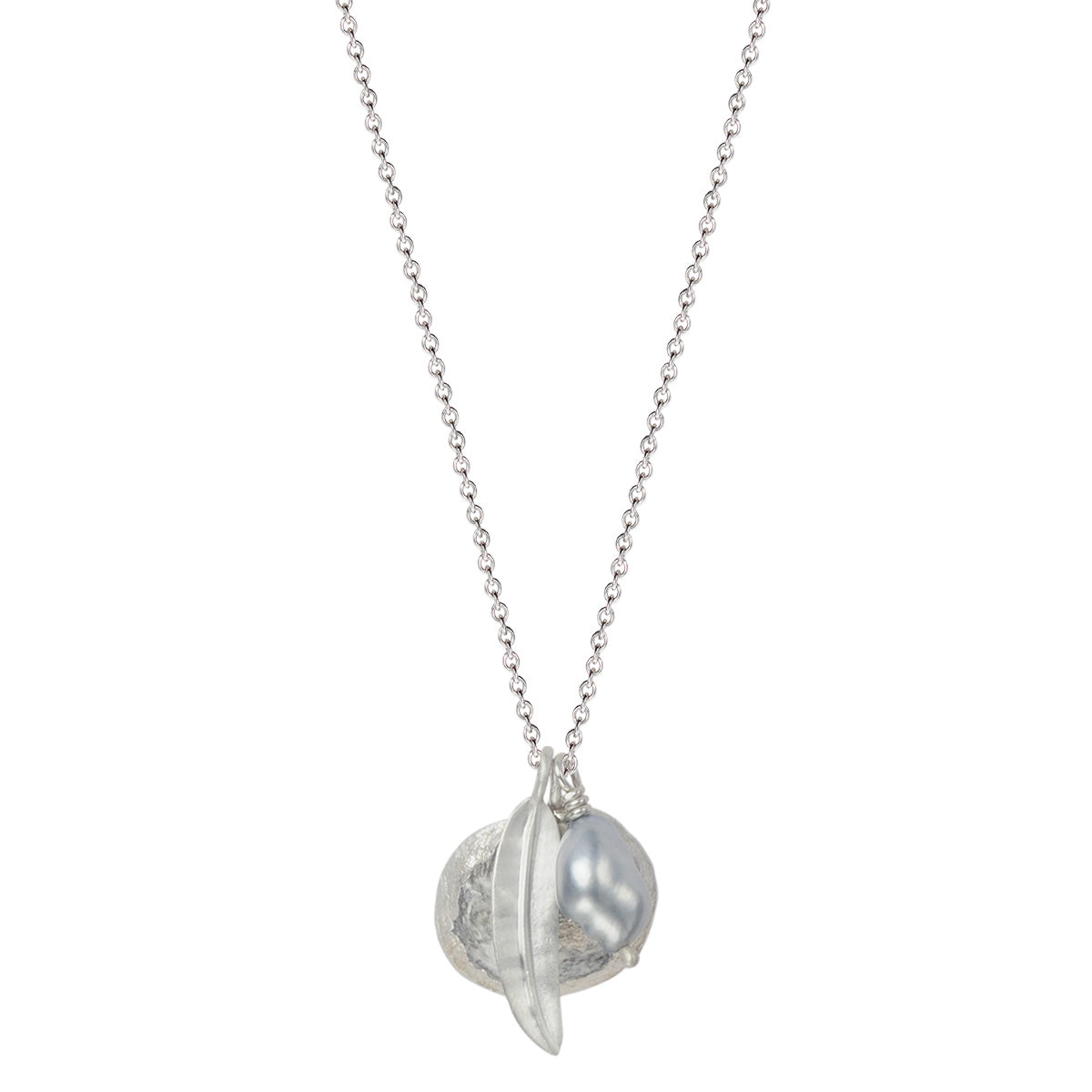 Silver Shell, Leaf and Pearl on Chain