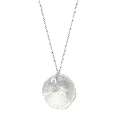 Silver Shell with Pearl on Chain