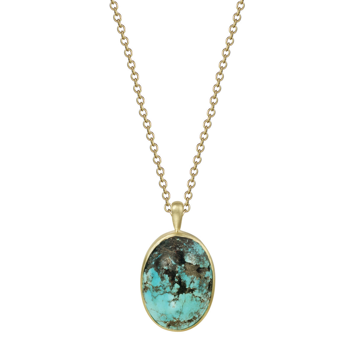 18K Gold Persian Turquoise Oval Pendant