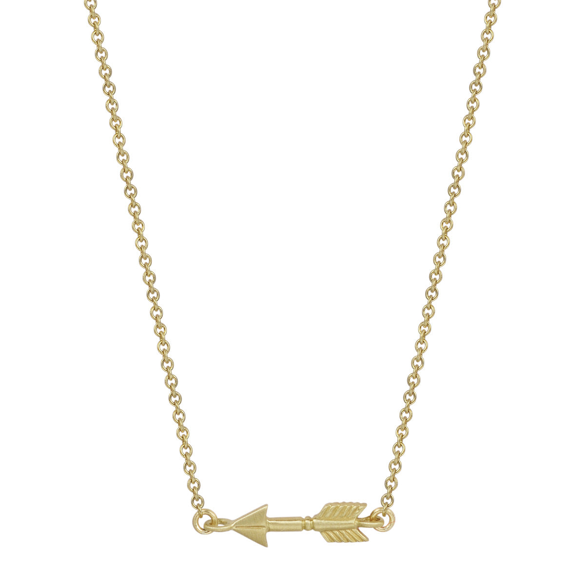 18K Gold Tiny Arrow Pendant