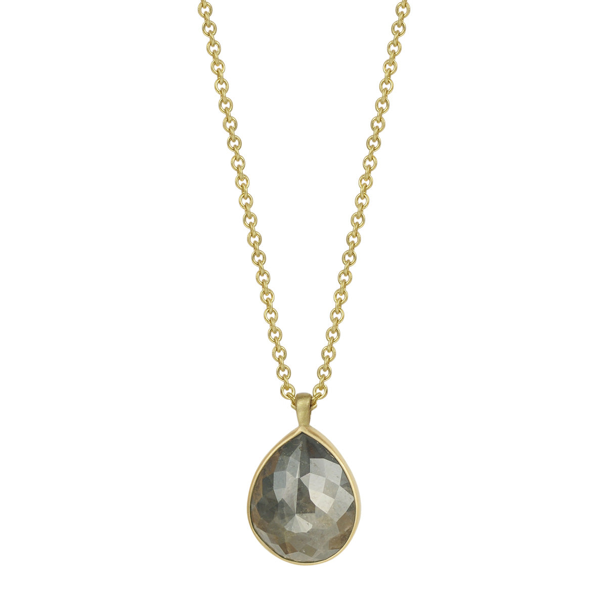18K Gold Grey Opaque Diamond Teardrop Pendant