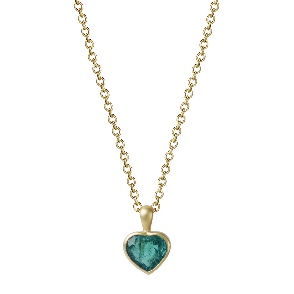 18K Gold Emerald Heart Pendant