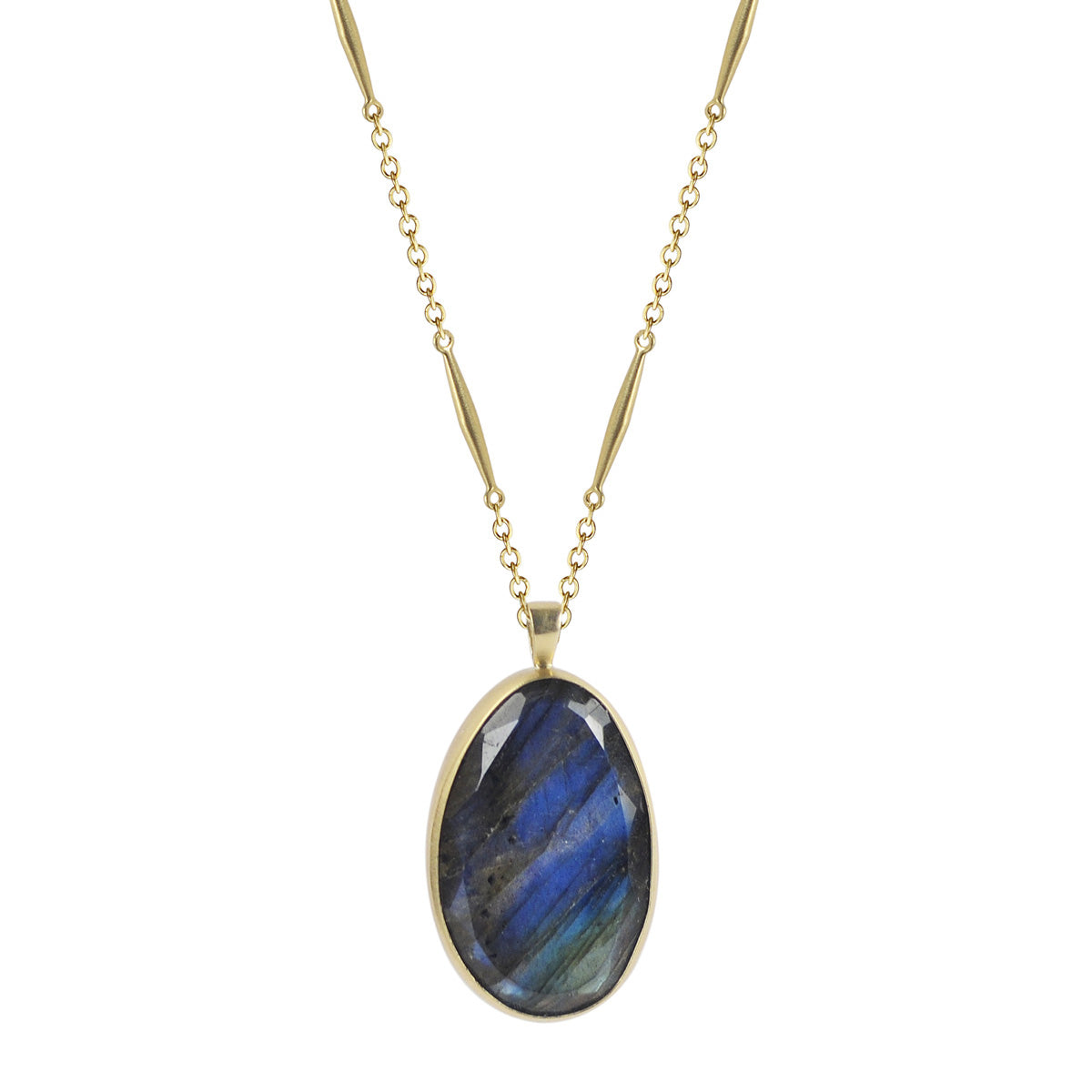 18K Gold Labradorite Oval Pendant on Lure Chain
