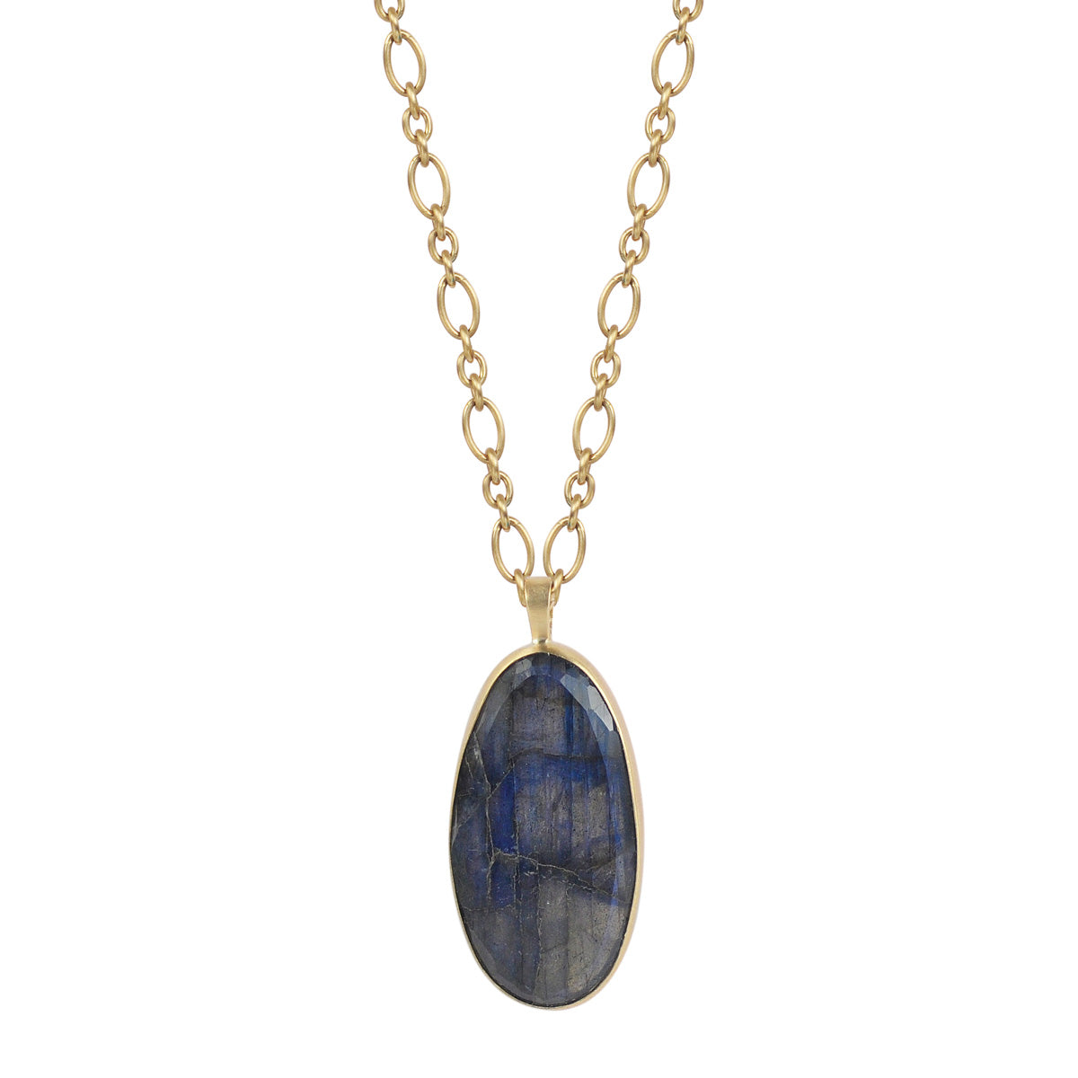 18K Gold Labradorite Oval Pendant on Trace Figaro Chain