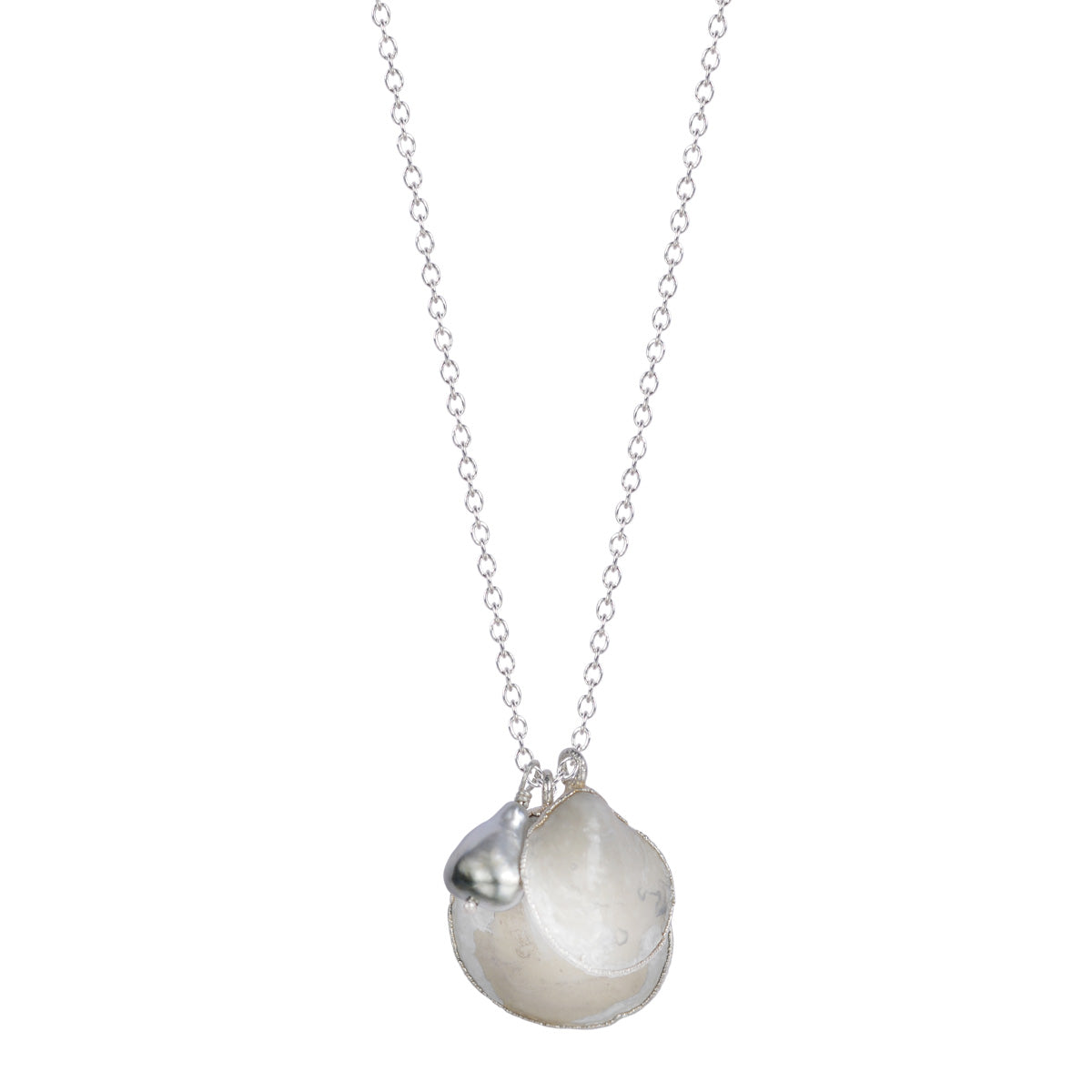 Silver Double Jingle Shell Necklace with Tahitian Pearl on Chain