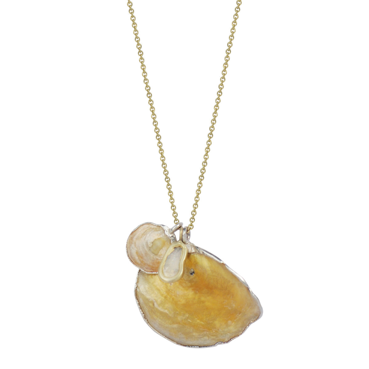 Silver Shell Charms Necklace with Opaque Diamond Slice on 18K Gold Chain