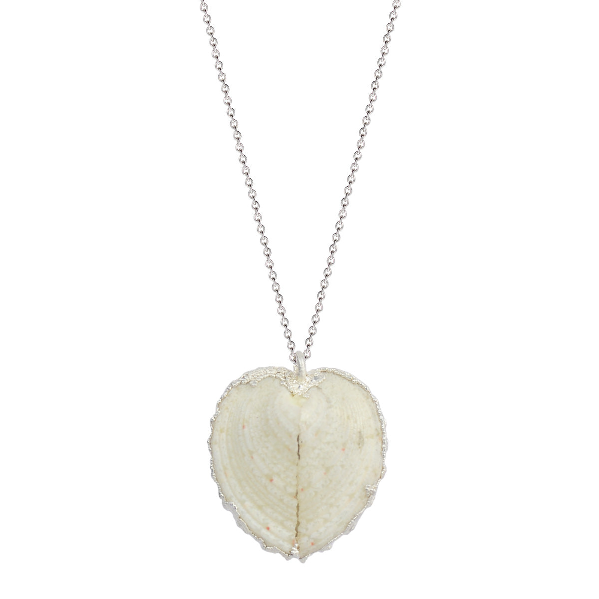 Silver Medium White Heart Shell Pendant