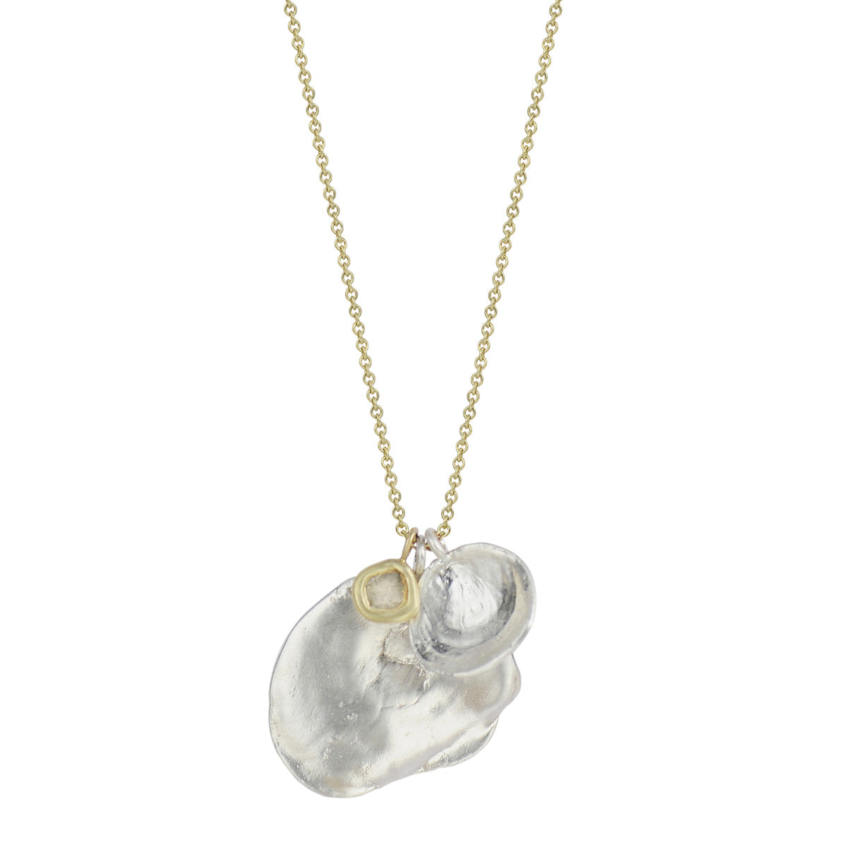 Silver Shell Charms and Opaque Diamond Slice on 18K Gold Chain