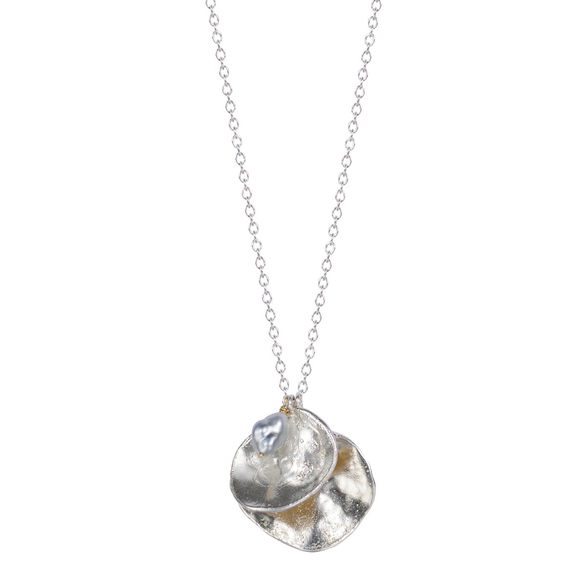 Silver Double Jingle Shell with Tahitian Pearl on Chain