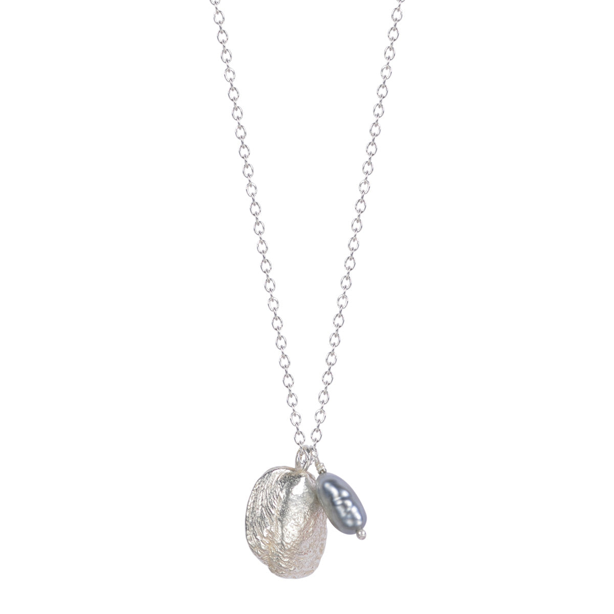 Silver Shell Necklace with Tahitian Pearl on Chain