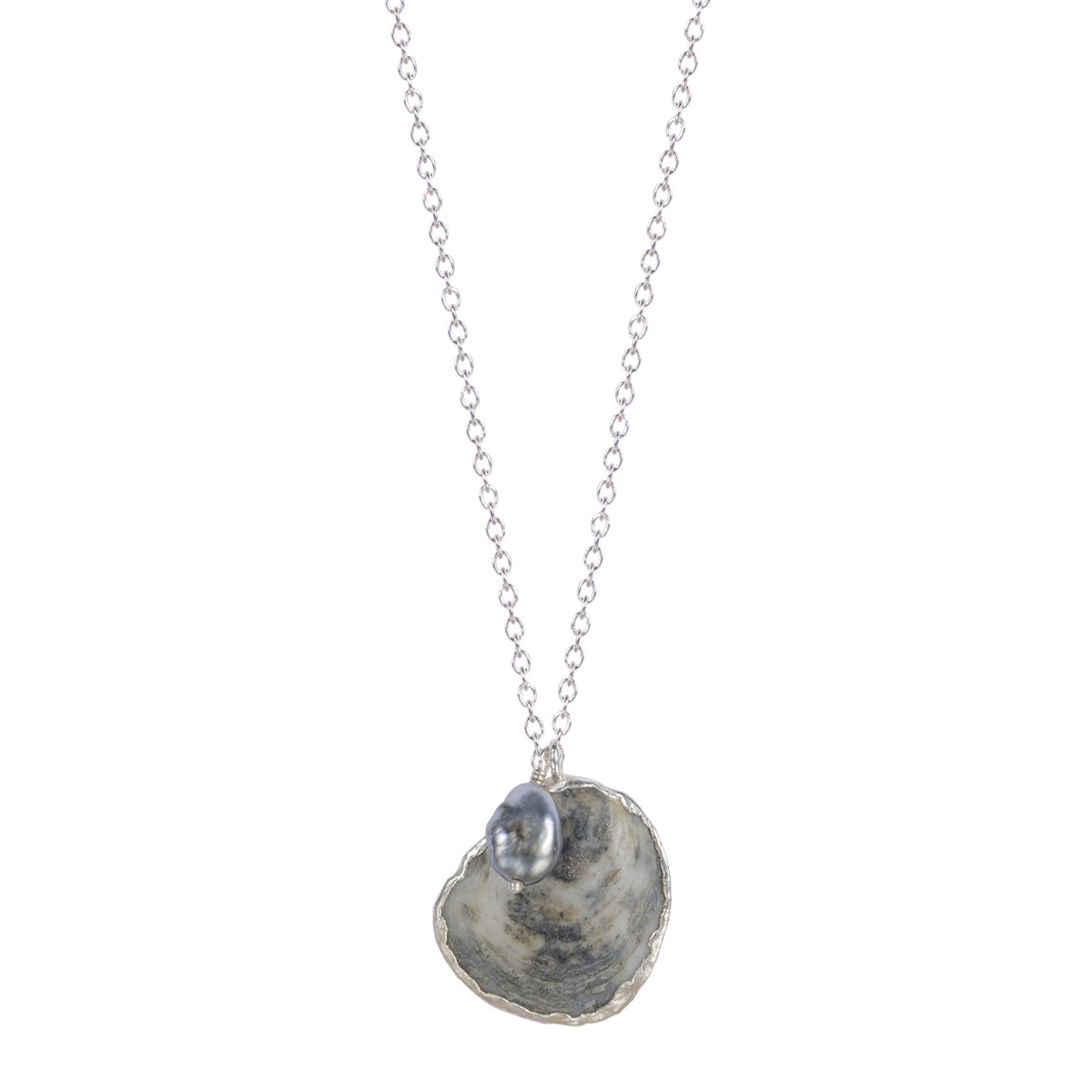 Silver Jingle Shell Necklace with Tahitian Pearl on Chain