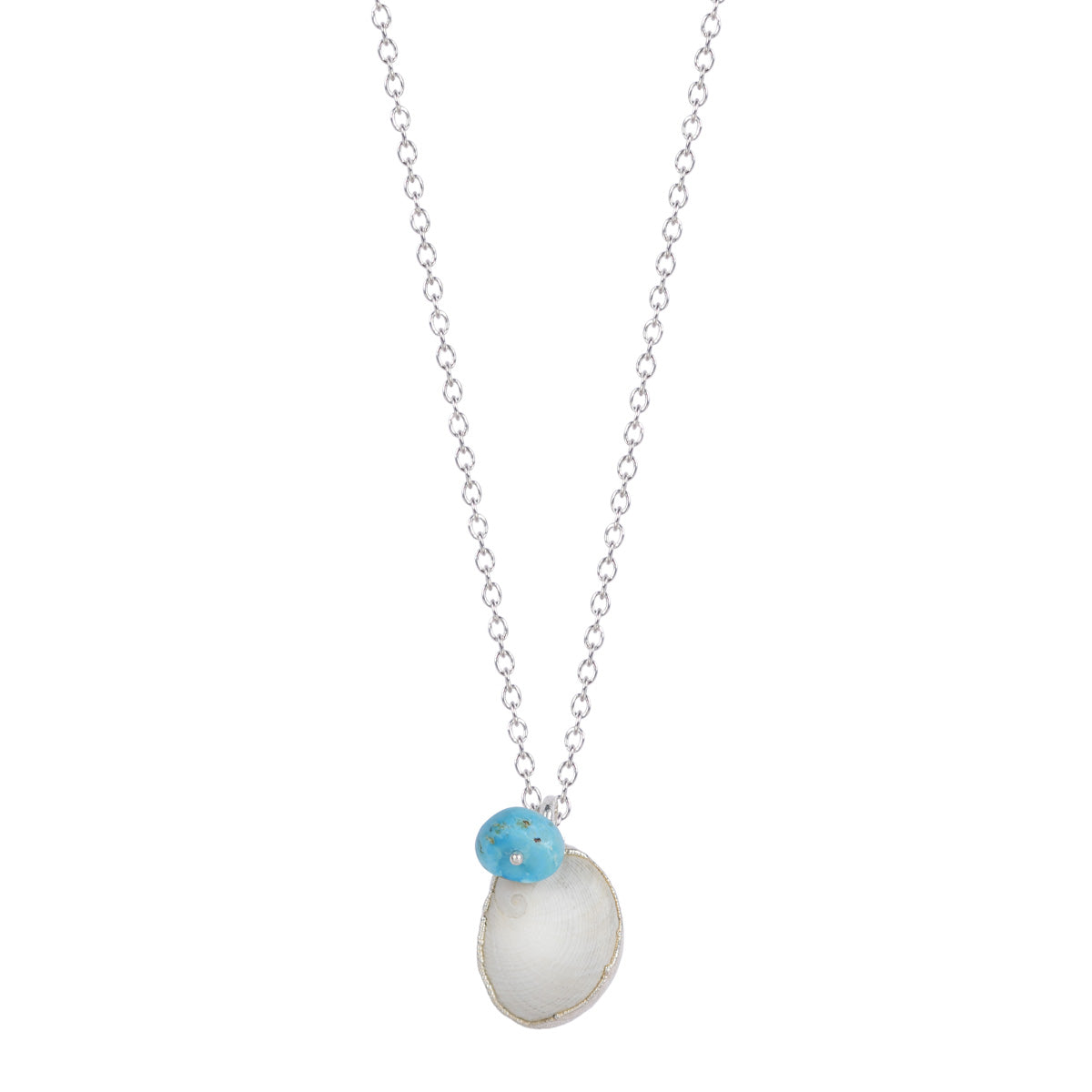 Silver Shell Necklace with Turquoise Bead on Chain