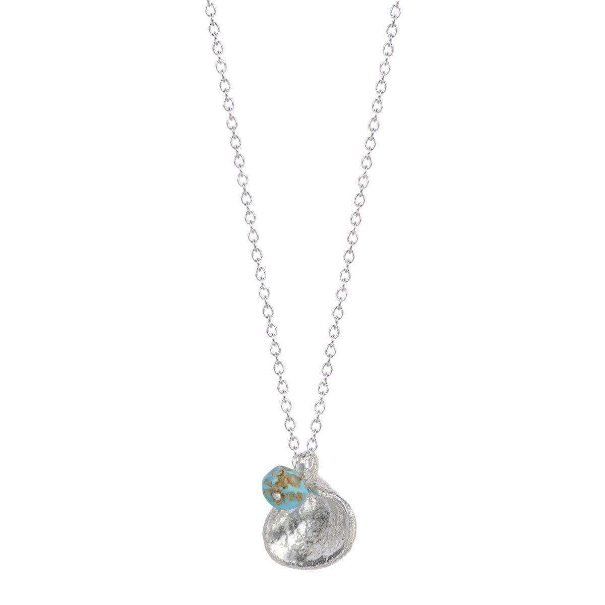 Silver Shell and Turquoise Bead on Chain