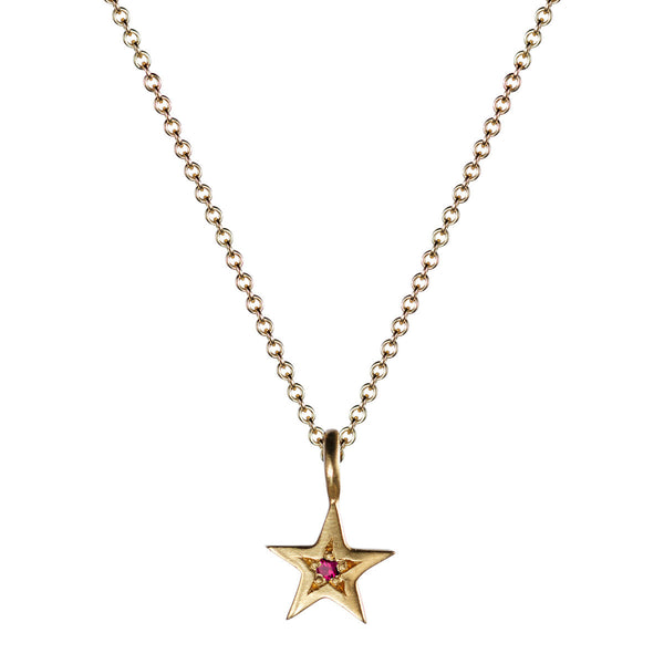 10K Gold Tiny Bombay Star with Ruby Pendant