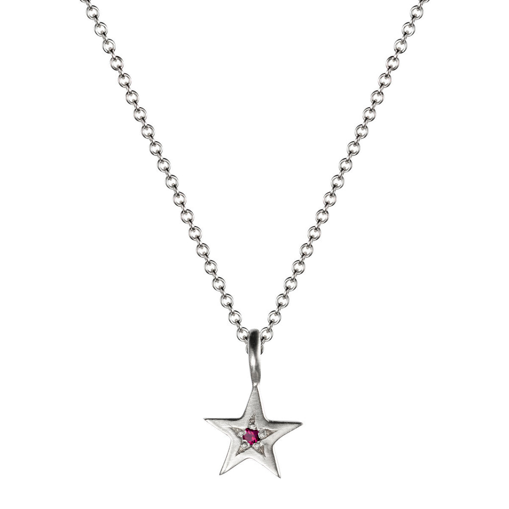 Sterling Silver Tiny Bombay Star Pendant with Ruby