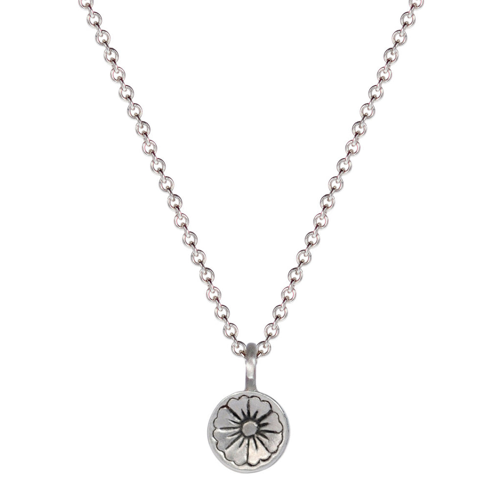 Sterling Silver Engraved Flower Pendant