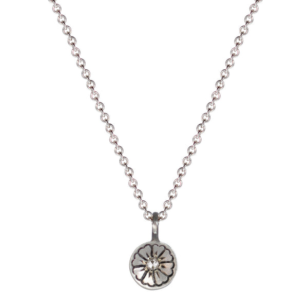 Sterling Silver Engraved Flower Pendant with Diamond