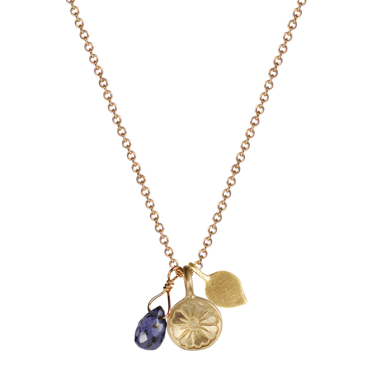10K Gold Flower Trinket on Chain with Lotus Petal and Iolite Bead