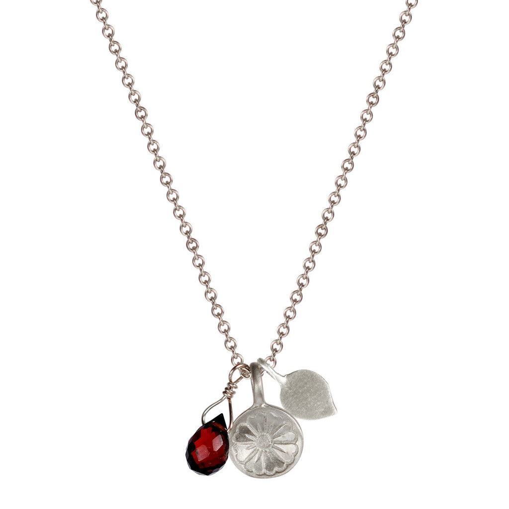 Sterling Silver Flower Trinket with Garnet Bead