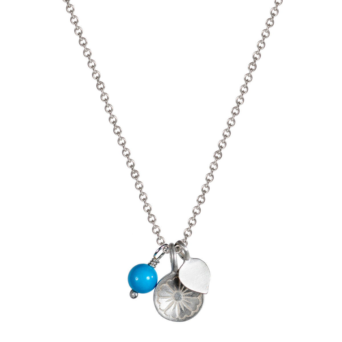 Sterling Silver Flower Trinket with Turquoise Bead Pendant