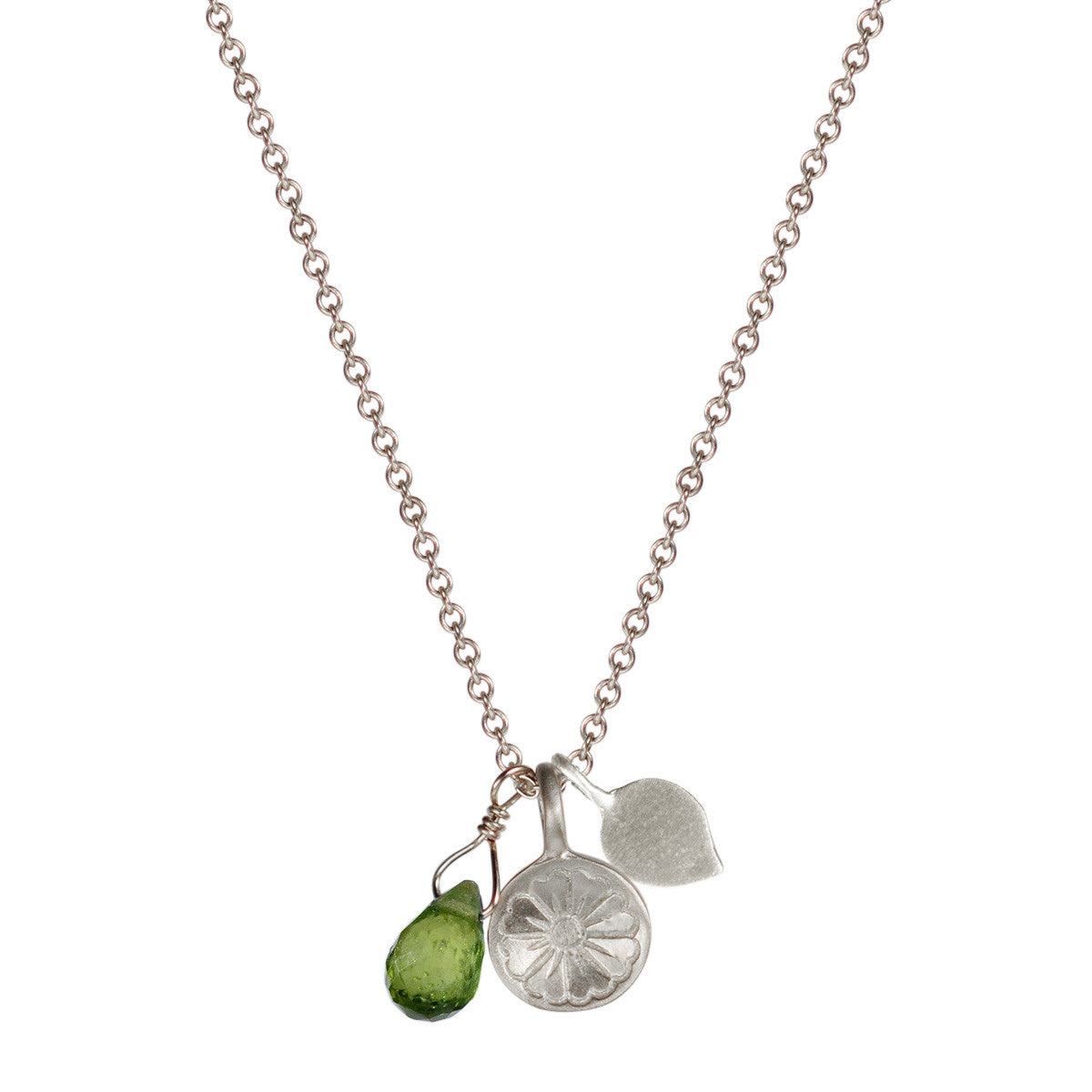 Sterling Silver Flower Trinket with Vesuvianite Bead