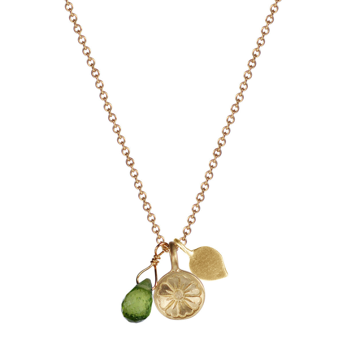 10K Gold Flower Trinket on Chain with Lotus Petal and Vesuvianite Bead