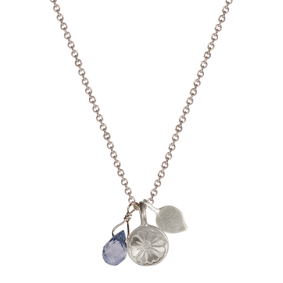 Sterling Silver Flower Trinket with Iolite Bead
