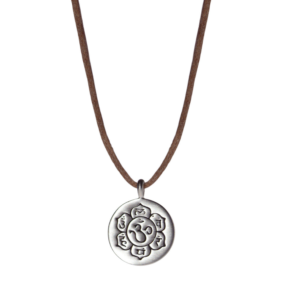 Sterling Silver Small Chakra Flower Pendant on Natural Cord