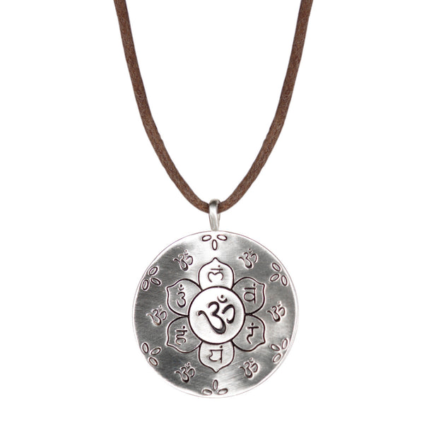 Sterling Silver Large Chakra Pendant on Natural Cord