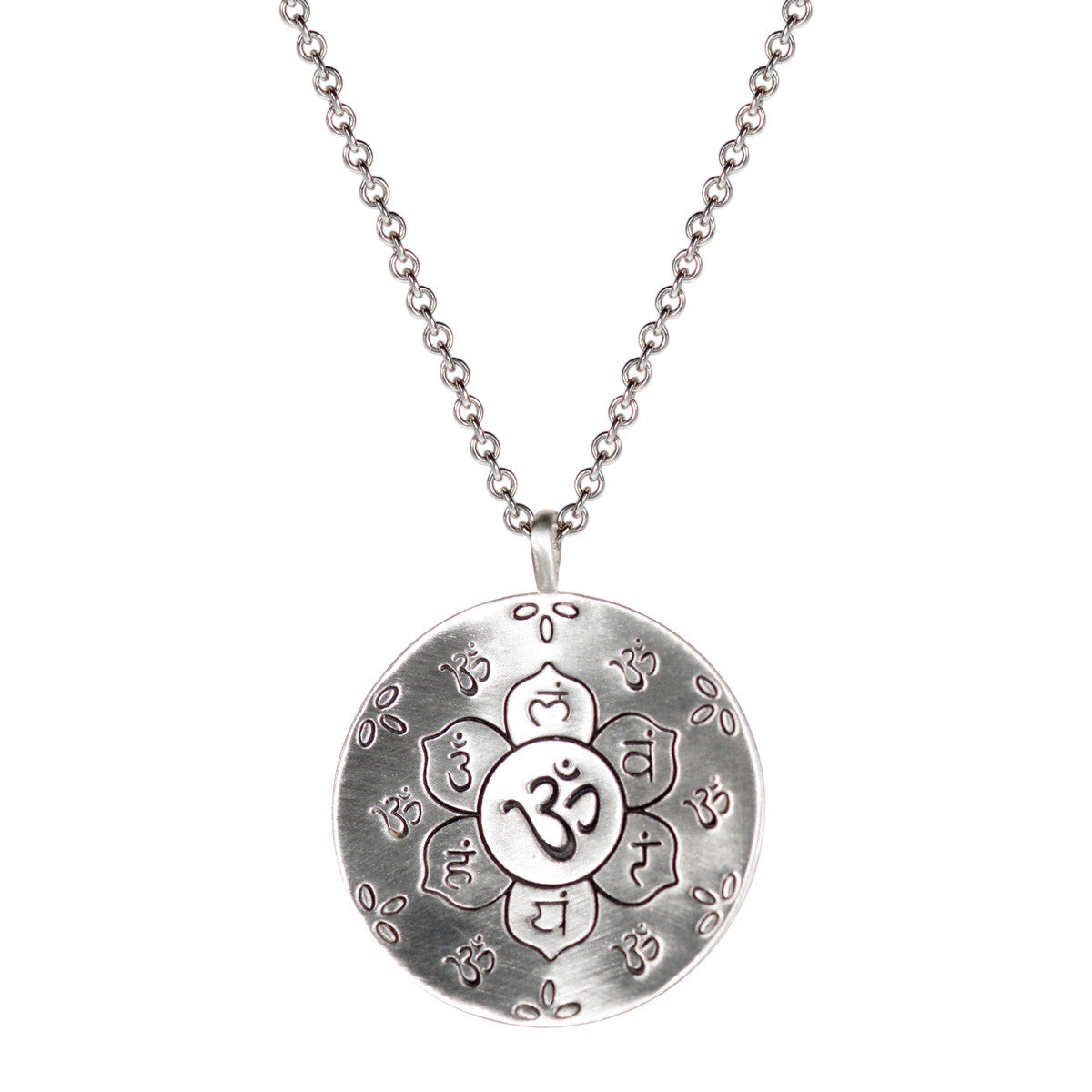 Sterling Silver Large Chakra Flower Pendant