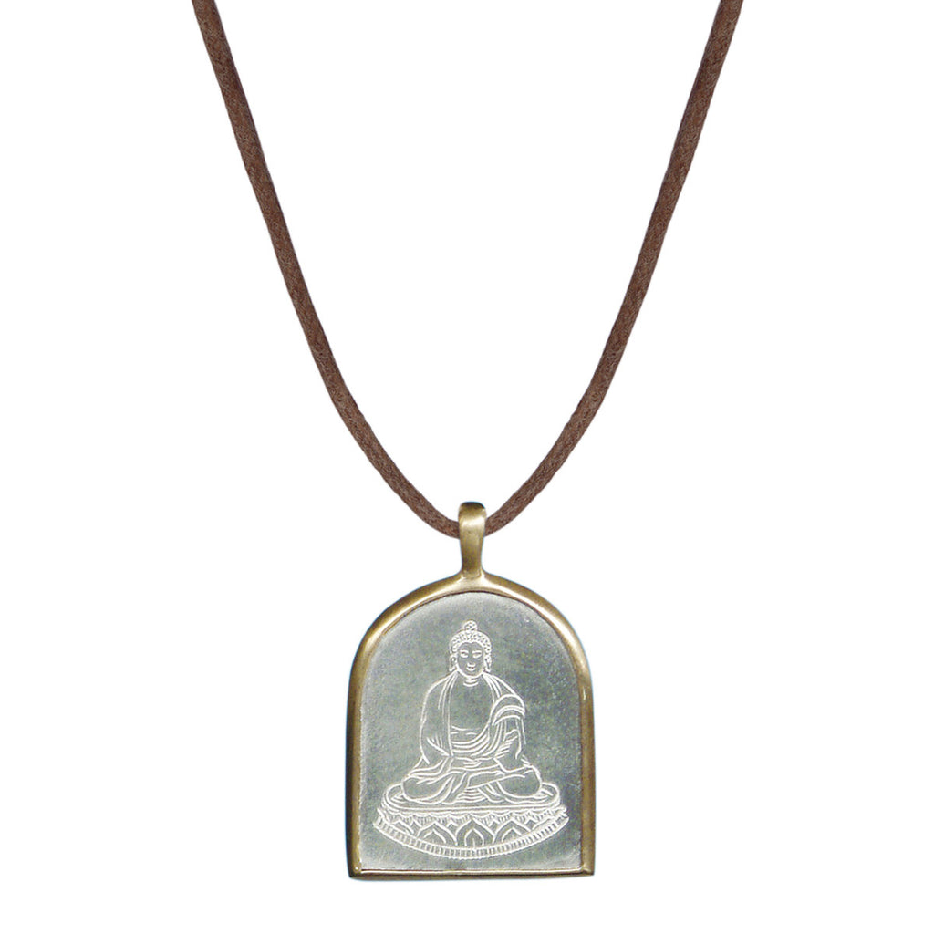 Sterling Silver & 10K Gold Buddha Pendant on Natural Cord