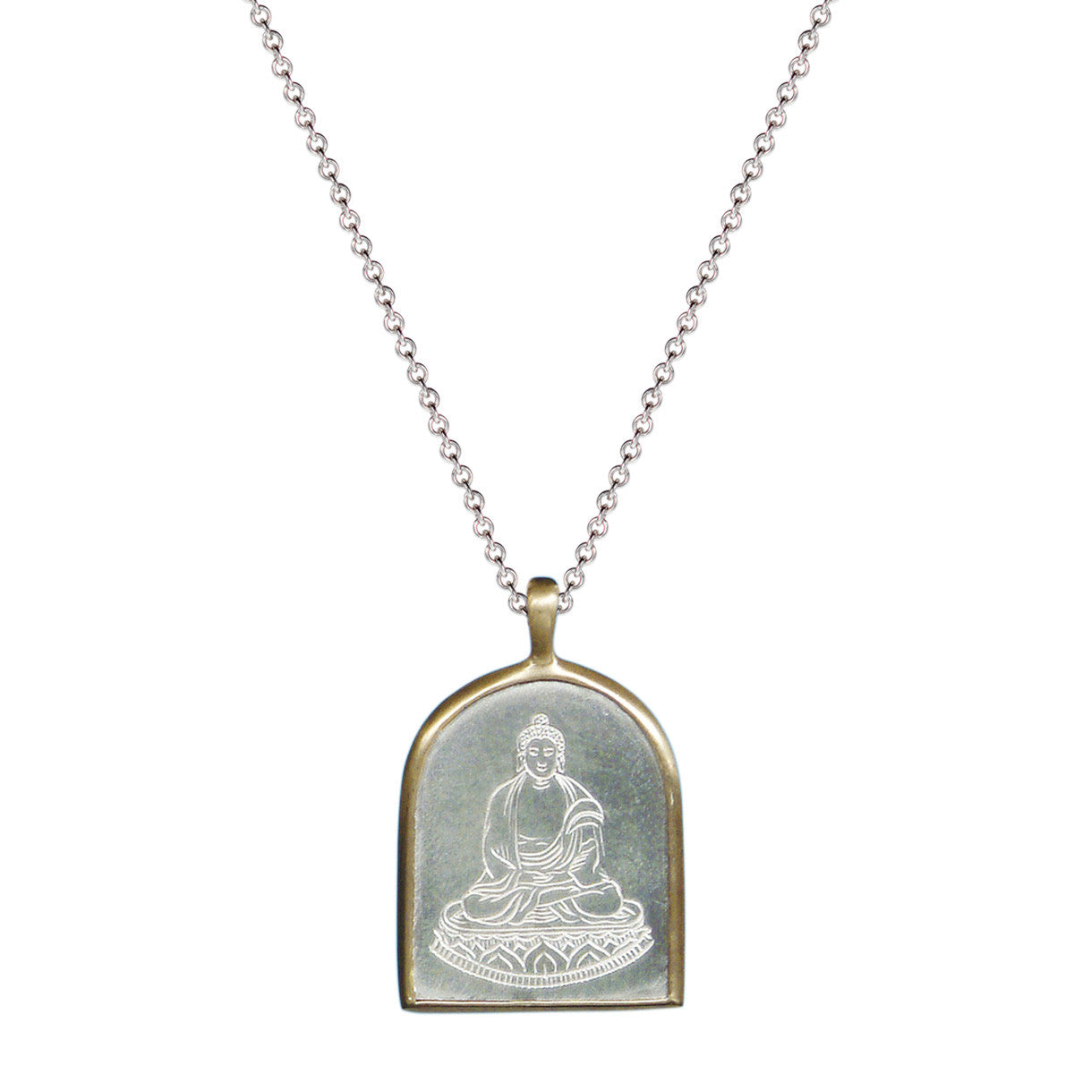 Men's Sterling Silver & 10K Gold Buddha Pendant
