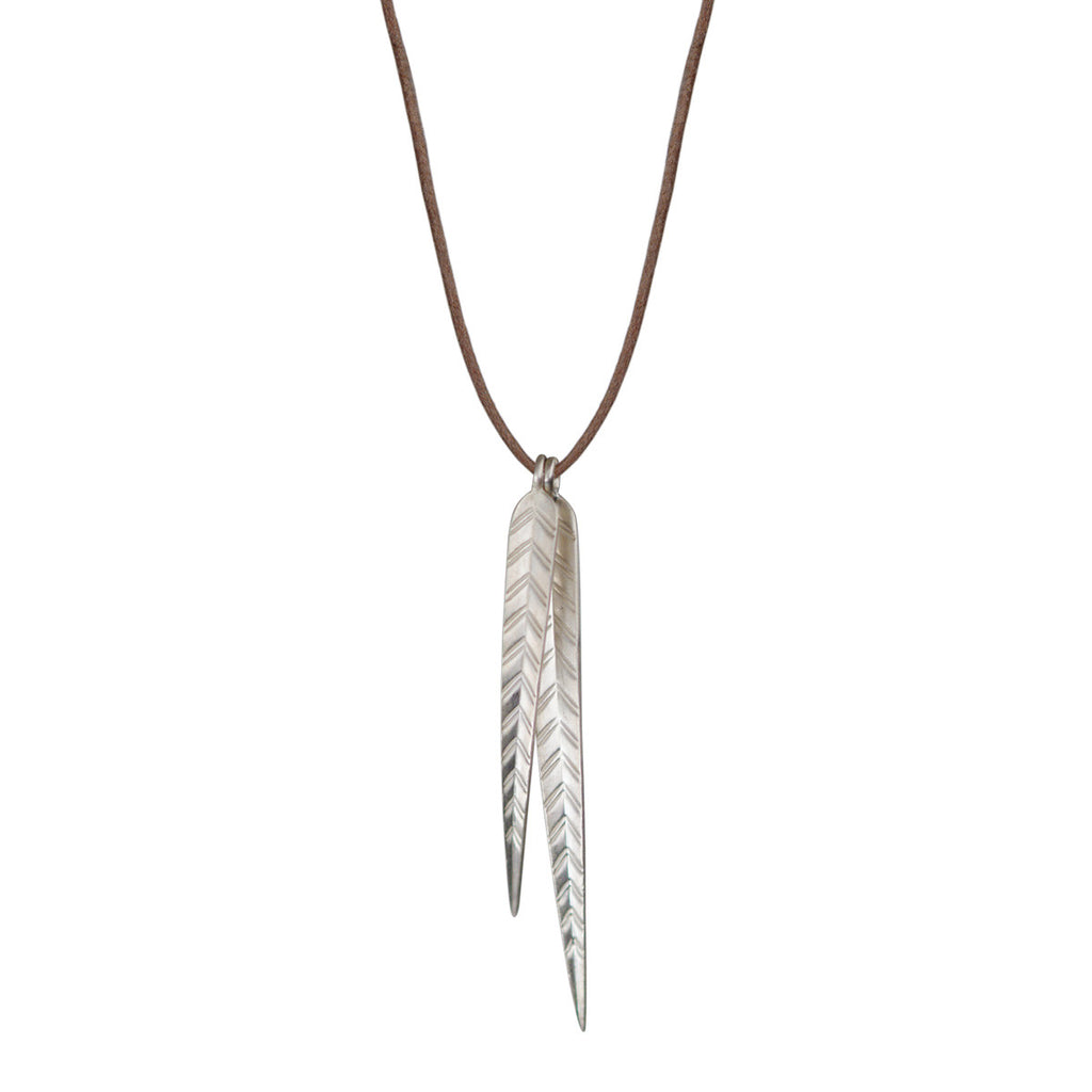 Sterling Silver Long Double Leaf Pendant on Natural Cord