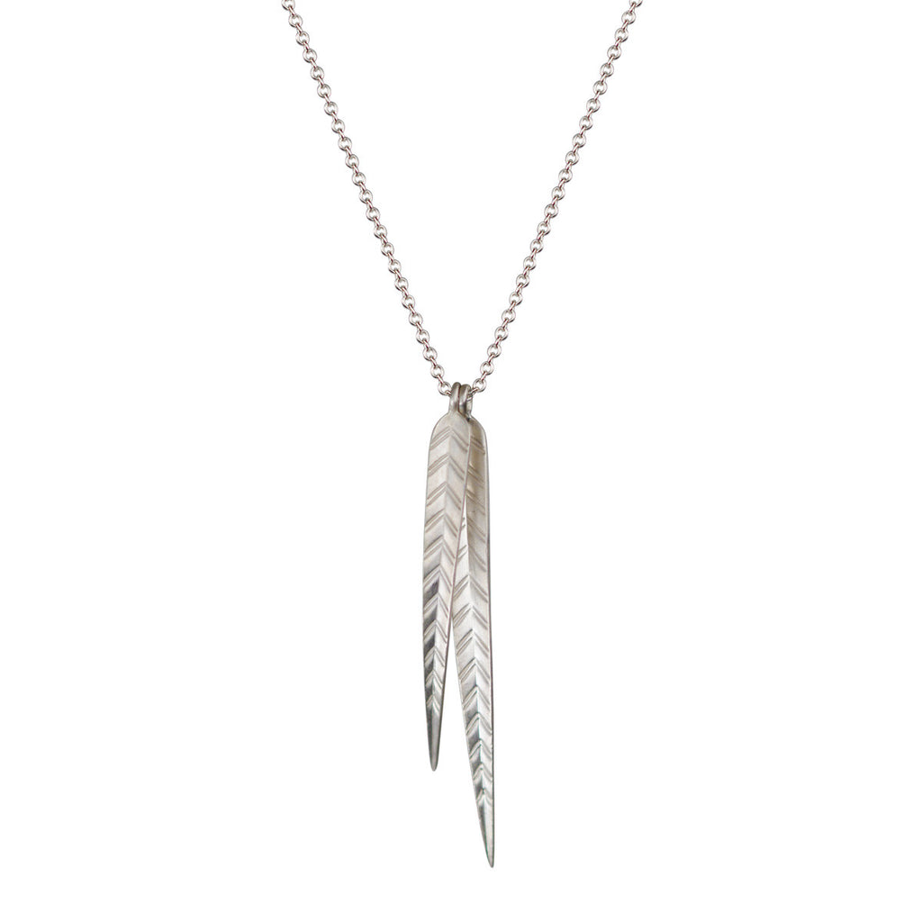 Sterling Silver Long Double Leaf Pendant