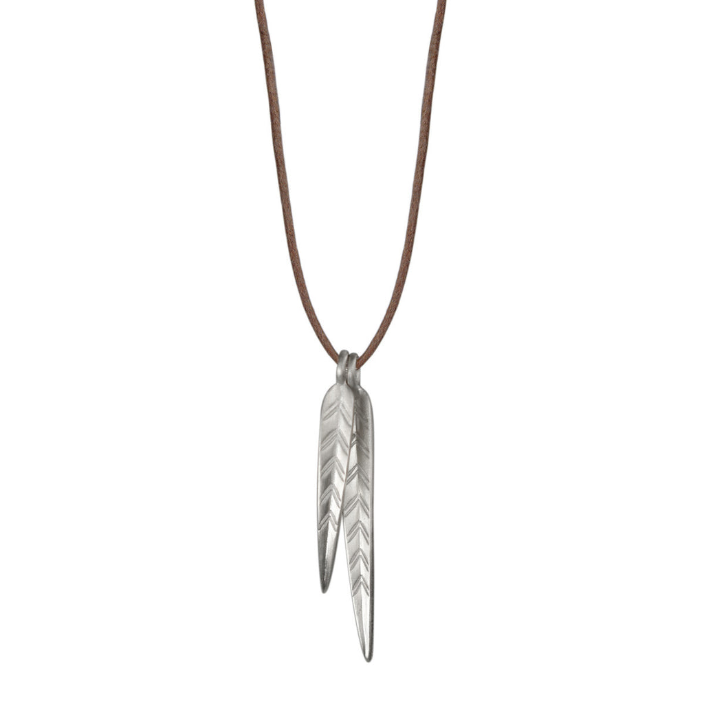 Sterling Silver Double Medium Leaf Pendant on Natural Cord